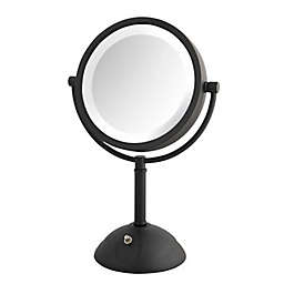 Jerdon® 8X/1X Round Swivel LED Lighted Tabletop Mirror in Black