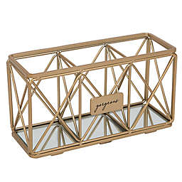 Home Details 3-Compartment Brush or Pencil Holder in Satin Gold