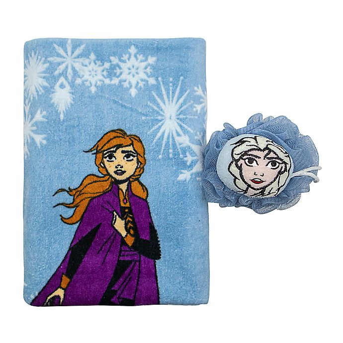 Alternate image 1 for Frozen Bath Towl and Loofah Set in Blue