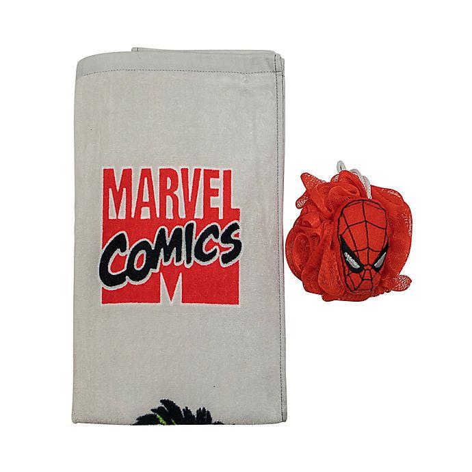 Alternate image 1 for Marvel Comics 2-Piece Bath Towel and Loofah Set