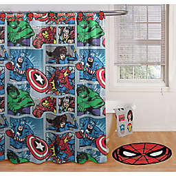 Marvel® Comic Shower Curtain and Hook Set
