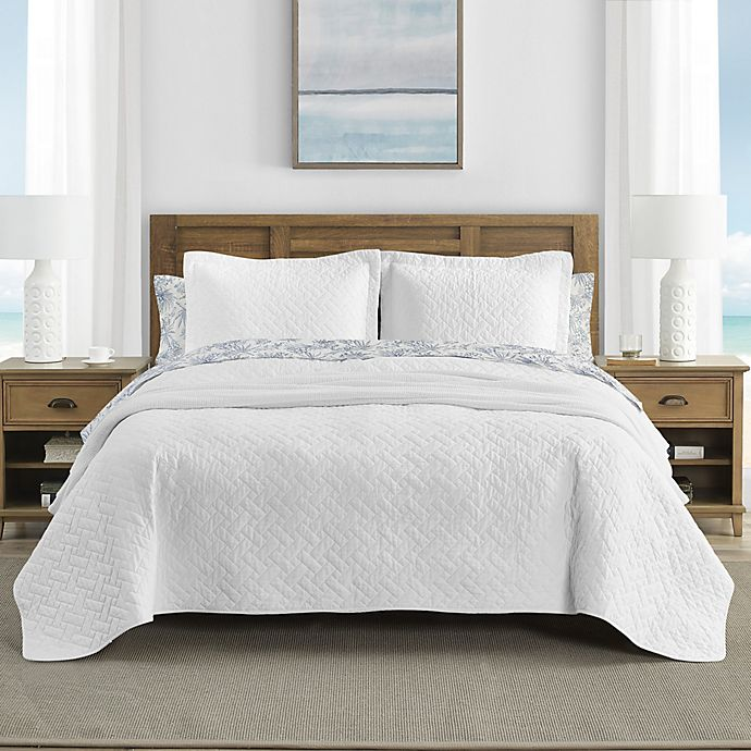 Alternate image 1 for Tommy Bahama® Solid Raffia 3-Piece King Quilt Set in White