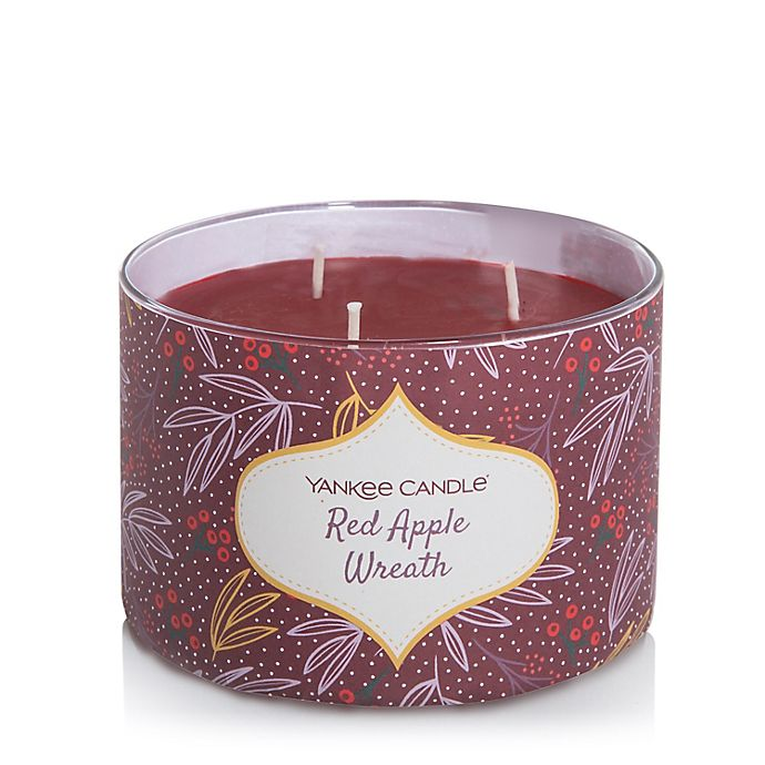Alternate image 1 for Yankee Candle® 3-Wick Red Apple Wreath Seasonal Ornamental Candle