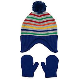 Nolan Originals Toddler Knit Peruvian Hat and Mitten Set in Bright Stripe