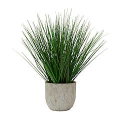 Elements 16-Inch Artificial Potted Grass in Round Cement Pot