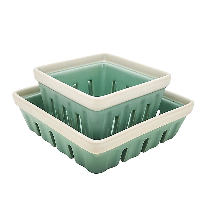 Alternate image 1 for Bee & Willow™ Home Springfield Berry Baskets in Mint/White (Set of 2)