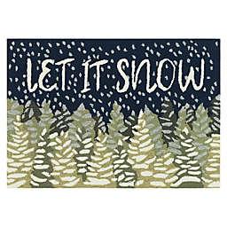 "Liora Manne Frontporch ""Let It Snow"" Indoor/Outdoor Accent Rug in Navy/Green"
