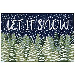 """Liora Manne """"Let It Snow"""" 2'6 x 4' Indoor/Outdoor Accent Rug in Navy/Green"""