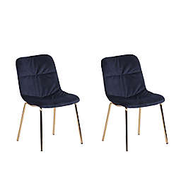 ACEssentials® Wells Velvet Dining Chairs in Navy (Set of 2)