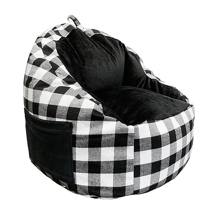 Alternate image 1 for ACEssentials® Buffalo Plaid Faux Fur Kids Bean Bag Chair with Tablet Pocket in Black/White