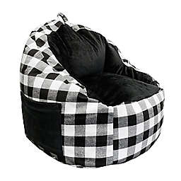 ACEssentials® Buffalo Plaid Faux Fur Kids Bean Bag Chair with Tablet Pocket in Black/White