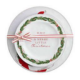 Mud Pie® 2-Piece Santa Nested Round Platter Set in White