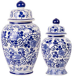 W Home Ginger Jar in Blue/White