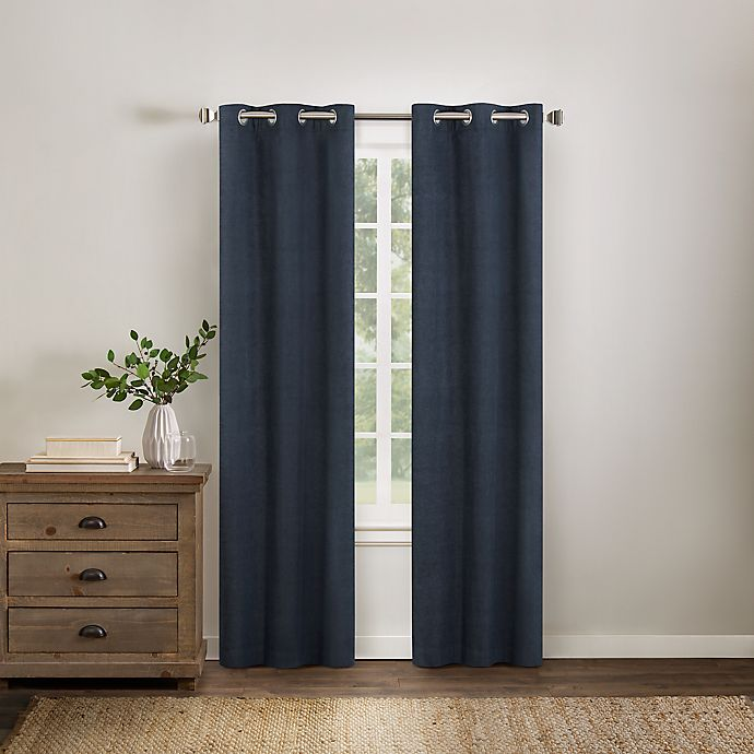Alternate image 1 for Wamsutta® Collective Asher Chambray 63-Inch Grommet Blackout Window Curtain Panel in Navy