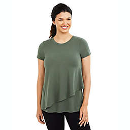 A Pea in the Pod Small Pull Over Drop Shoulder Nursing Tee in Olive