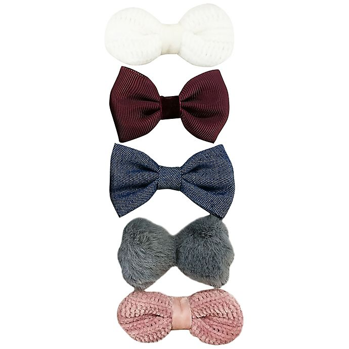 Alternate image 1 for Tiny Treasures™ 5-Pack Mixed Novelty Bow Hair Clips
