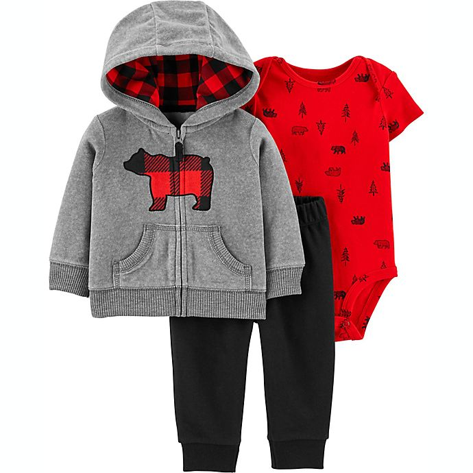 Alternate image 1 for carter's® 3-Piece Buffalo Bear Little Jacket, Bodysuit, and Pant Set in Grey