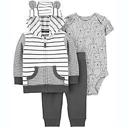 carter's® 3-Piece Striped Jacket, Bodysuit, and Pant Set in Black