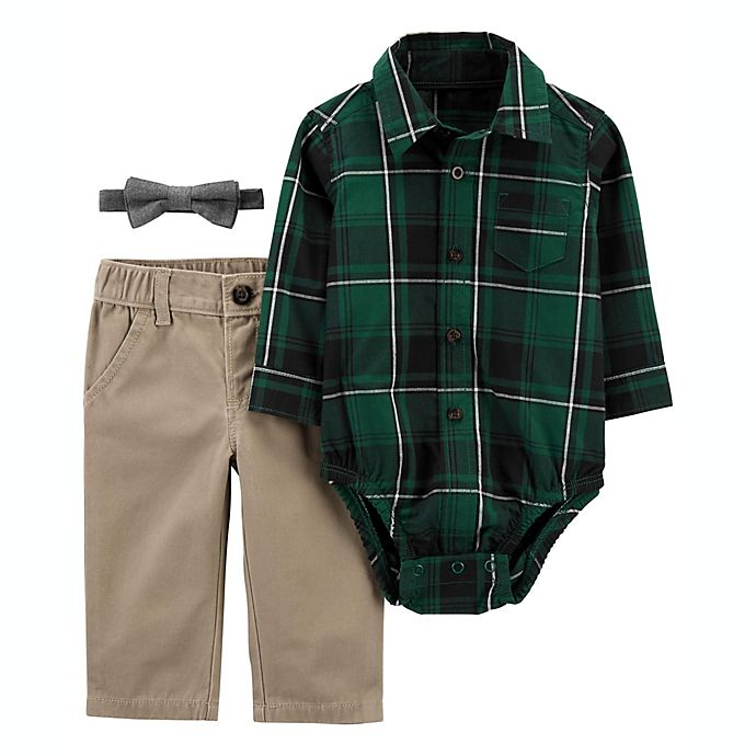 Alternate image 1 for carter's® Size 3M 3-Piece Plaid Dress Me Up Set in Green/Khaki