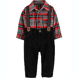 carter's® Size 6M 3-Piece Flannel Dress Me Up Set in Red/Grey