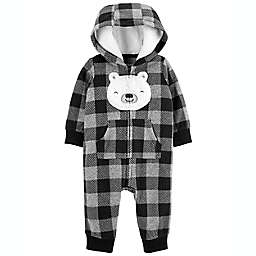 carter's® Buffalo Check Long Sleeve Hooded Coverall in Grey