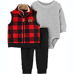 carter's® 3-Piece Buffalo Plaid Vest, Bodysuit and Pant Set