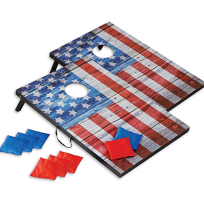 Alternate image 1 for Hammer + Axe American Flag Cornhole Game Set