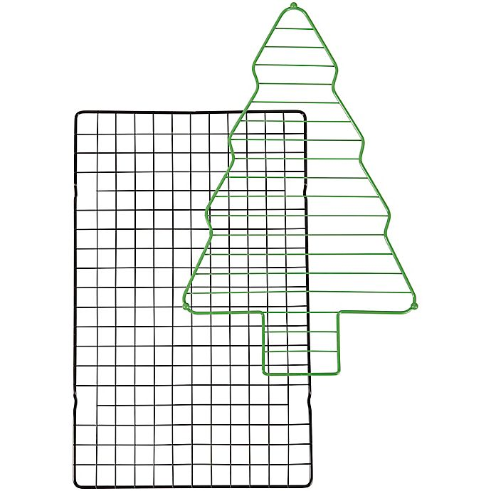 Alternate image 1 for Wilton® 2-Piece Holiday Tree Nonstick Cooling Grid Set in Green