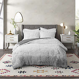 CosmoLiving Cleo Ombre Shaggy Faux Fur 2-Piece Twin/Twin XL Comforter Set in Grey