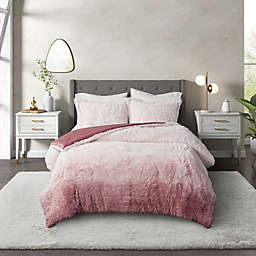 CosmoLiving Cleo Ombre Shaggy Faux Fur 2-Piece Twin XL Comforter Set in Blush