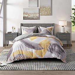 CosmoLiving Andie 3-Piece Full/Queen Duvet Cover Set in Grey/Yellow