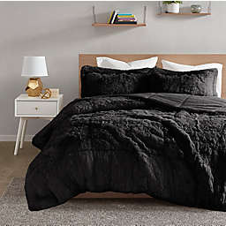 Intelligent Design Malea Reversible Shaggy Faux Fur Twin/Twin XL Comforter Set in Black