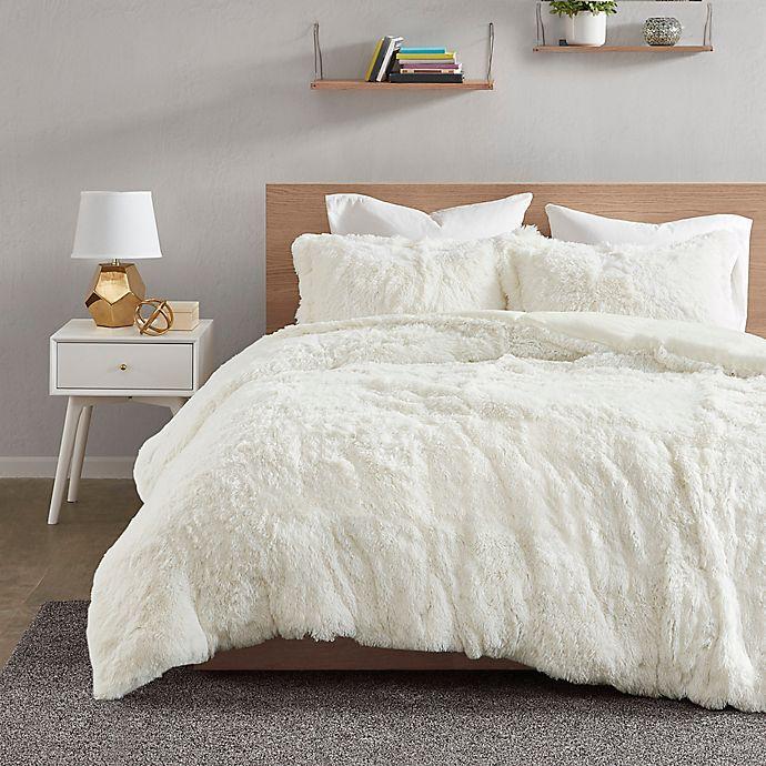 Alternate image 1 for Intelligent Design Malea Shaggy Fur 2-Piece Twin Duvet Cover Set in Ivory