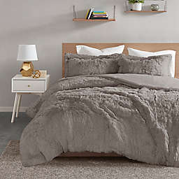 Intelligent Design Malea Shaggy Fur 2-Piece Twin Duvet Cover Set in Grey