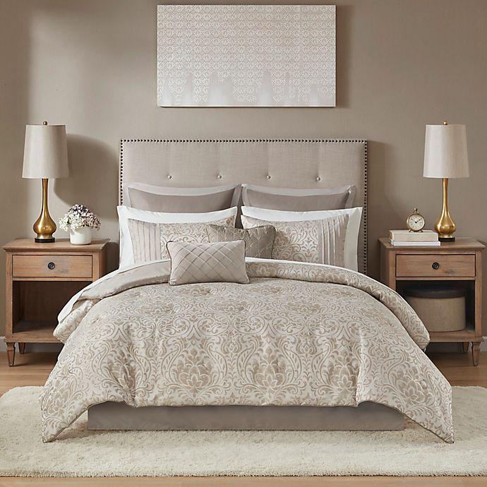 Alternate image 1 for Madison Park Emilia 12-Piece Comforter Set in Khaki