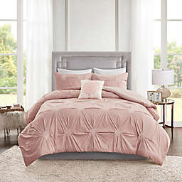 Madison Park Malia 4-Piece Reversible Full/Queen Duvet Cover Set in Blush