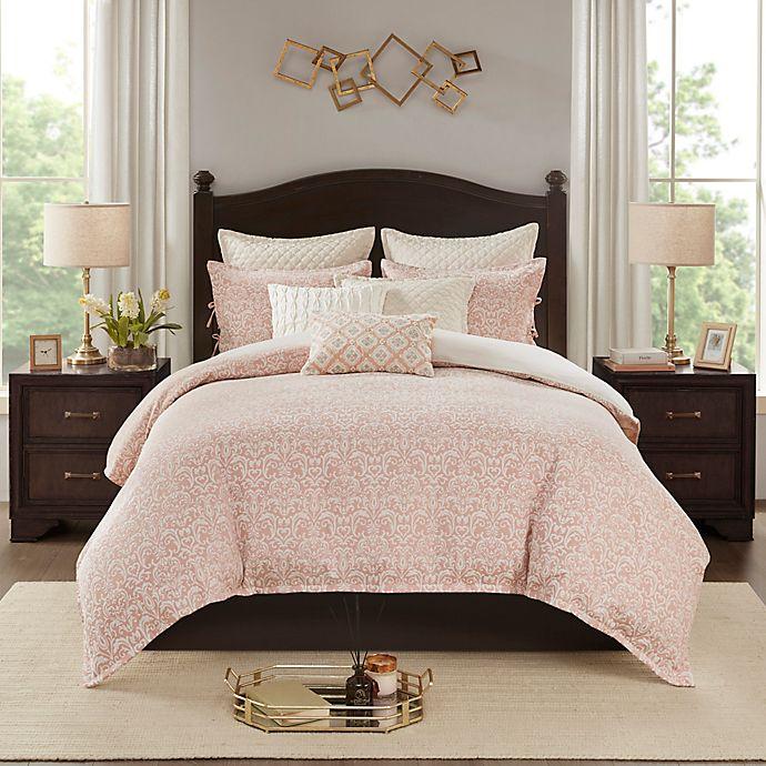 Madison Park Signature Haven Chenille Jacquard 9-Piece King Comforter Set in Blush