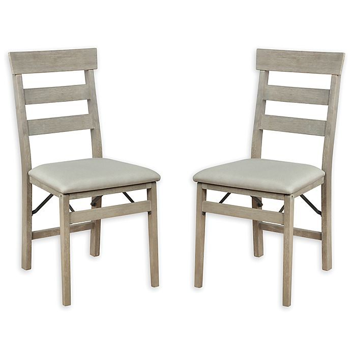 Alternate image 1 for Ladder Back Wooden Folding Chair in Grey Wash