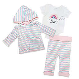 Harry & Violet Size 3-6M 3-Piece Rainbow Reversible Take Me Home Set in Pink