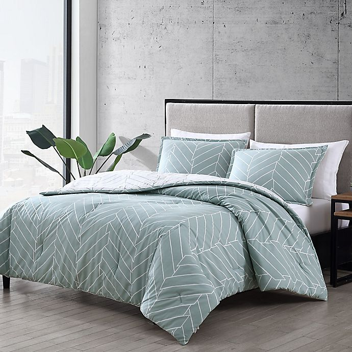 Alternate image 1 for City Scene® Ceres 3-Piece Reversible Comforter Set in Green