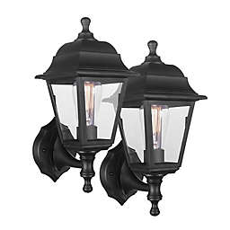 Globe Electric Cabot Outdoor Wall Sconce in Black (Set of 2)