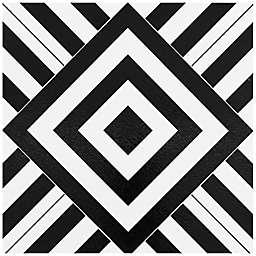 Achim Retro Geometric 12-Inch Square Peel & Stick Vinyl Floor Tiles in Black/White (Set of 20)