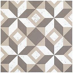 Achim Retro Geometric 12-Inch Square Peel & Stick Vinyl Floor Tiles in White/Grey (Set of 20)