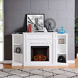 Chantilly Electric LED Fireplace Bookcase in White