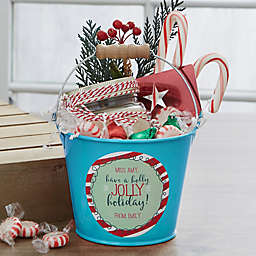 Holly Jolly Personalized Mini Metal Teacher Bucket in Turquoise