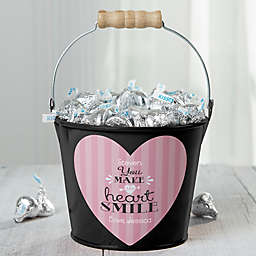 """""""You Make My Heart Smile"""" Personalized Small Treat Bucket in Black"""