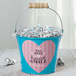 """""""You Make My Heart Smile"""" Personalized Small Treat Bucket in Turquoise"""