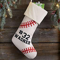 Baseball Personalized Christmas Stocking in Ivory
