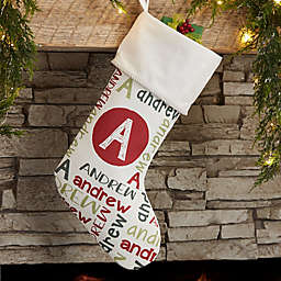 Youthful Name Personalized Christmas Stocking in Ivory