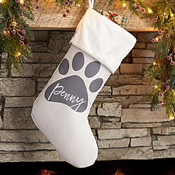Pet Paw Personalized Christmas Stocking in Ivory